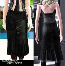 Sims 3 — Echoehver Goth Skirt by Echoehver — Shiny black with sparkling silver and red spider jewel