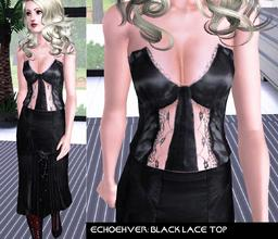 Sims 3 — Echoehver Lace Top by Echoehver — Strapless, shiny with lace panels for a subtle sexy.