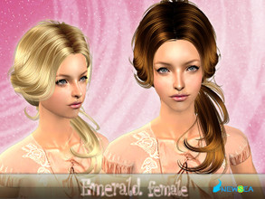 Sims 2 — NewSea SIMS2 Hair J061f Emerald by newsea — A stylish ponytail in various colors.