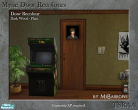 Sims 2 — Myne Door Recolours - Dark Wood 1 by MsBarrows — A plain recolour of the Myne Door from University EP, to match