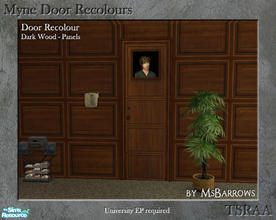 Sims 2 — Myne Door Recolours - Dark Wood 2 by MsBarrows — A panelled recolour of the Myne Door from University EP, to
