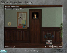 Sims 2 — Myne Door Recolours - Brazilian Mahogany 1 by MsBarrows — A plain recolour of the Myne Door from University EP,