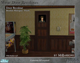 Sims 2 — Myne Door Recolours - Brazilian Mahogany 2 by MsBarrows — A panelled recolour of the Myne Door from University