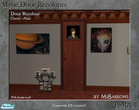 Sims 2 — Myne Door Recolours - Cherry 1 by MsBarrows — A plain recolour of the Myne Door from University EP, to match