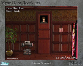 Sims 2 — Myne Door Recolours - Cherry 2 by MsBarrows — A panelled recolour of the Myne Door from University EP, to match