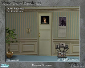 Sims 2 — Myne Door Recolours - Park Lane 2 by MsBarrows — A panelled recolour of the Myne Door from University EP, to