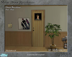 Sims 2 — Myne Door Recolours - Pine 1 by MsBarrows — A plain recolour of the Myne Door from University EP, to match