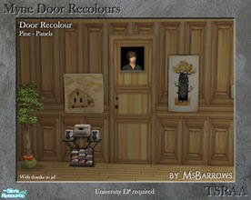 Sims 2 — Myne Door Recolours - Pine 2 by MsBarrows — A panelled recolour of the Myne Door from University EP, to match