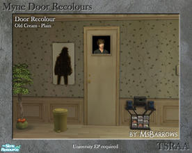 Sims 2 — Myne Door Recolours - Old Cream 1 by MsBarrows — A plain recolour of the Myne Door from University EP, to match