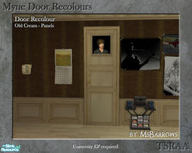 Sims 2 — Myne Door Recolours - Old Cream 2 by MsBarrows — A panelled recolour of the Myne Door from University EP, to
