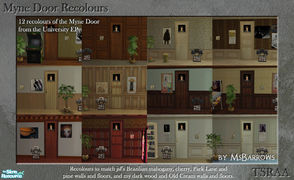 Sims 2 — Myne Door Recolours by MsBarrows — Twelve recolours of the Myne Door from the University EP, to match walls and