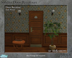 Sims 2 — Solidity Door Recolours - Dark Wood by MsBarrows — A recolour of the Solidity hotel room door from Bon Voyage,