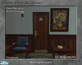 Sims 2 — Solidity Door Recolours - Brazilian Mahogany by MsBarrows — A recolour of the Solidity hotel room door from Bon