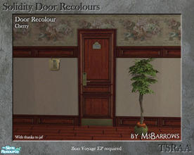Sims 2 — Solidity Door Recolours - Cherry by MsBarrows — A recolour of the Solidity hotel room door from Bon Voyage, to