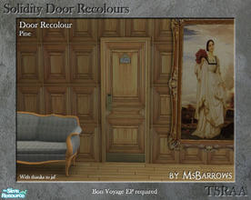 Sims 2 — Solidity Door Recolours - Pine by MsBarrows — A recolour of the Solidity hotel room door from Bon Voyage, to
