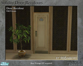 Sims 2 — Solidity Door Recolours - Old Cream by MsBarrows — A recolour of the Solidity hotel room door from Bon Voyage,