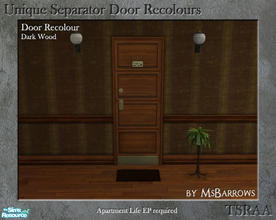 Sims 2 — Unique Separator Recolours - Dark Wood by MsBarrows — A recolour of the Unique Separator Door from Apartment