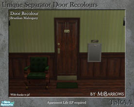 Sims 2 — Unique Separator Recolours - Brazilian Mahogany by MsBarrows — A recolour of the Unique Separator Door from