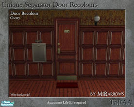 Sims 2 — Unique Separator Recolours - Cherry by MsBarrows — A recolour of the Unique Separator Door from Apartment Life