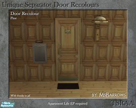 Sims 2 — Unique Separator Recolours - Pine by MsBarrows — A recolour of the Unique Separator Door from Apartment Life EP,