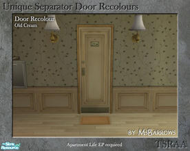 Sims 2 — Unique Separator Recolours - Old Cream by MsBarrows — A recolour of the Unique Separator Door from Apartment