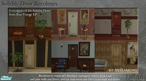 Sims 2 — Solidity Door Recolours by MsBarrows — Six recolours of the Solidity hotel room door from Bon Voyage, to match