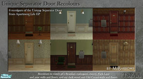 Sims 2 — Unique Separator Recolours by MsBarrows — Six recolours of the Unique Separator Door from Apartment Life EP, to