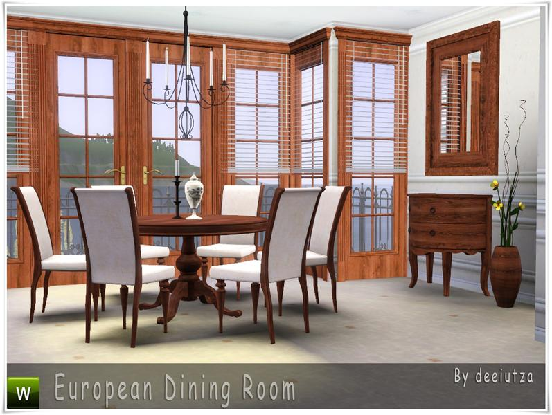 Deeiutza 39 s european dining room for Sims 3 dining room ideas