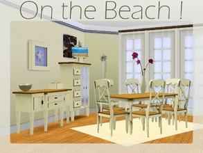 Sims 3 — On the Beach ! [Dining room] by lilliebou — Hi ! This set has 11 items : -Curtain (Semi transparent, two