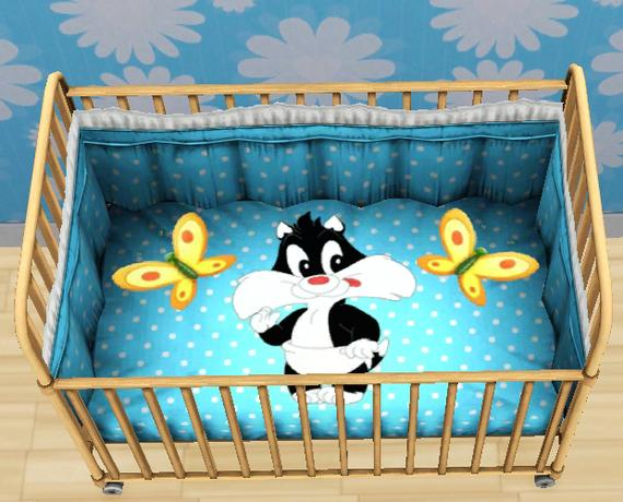 Tigerliyene 39 s looney tunes crib and high chair set for Baby looney tune decoration