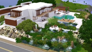 Sims 3 — Sunrise Avenue 122 by sinhhala — A large residence situated on a hill, with a pool, ponds and fountains. It has