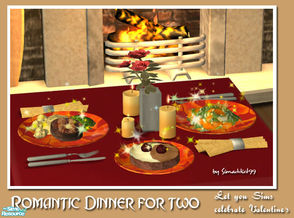 Sims 2 — Romantic Dinner for Two by Simaddict99 — Let your Sims celebrate Valentine\'s day with this dinner for two set.