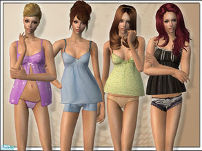Sims 2 — BabyDoll PJ Set by TSR Archive — A sexy PJ set with babydoll style shape. Four different styles to give every