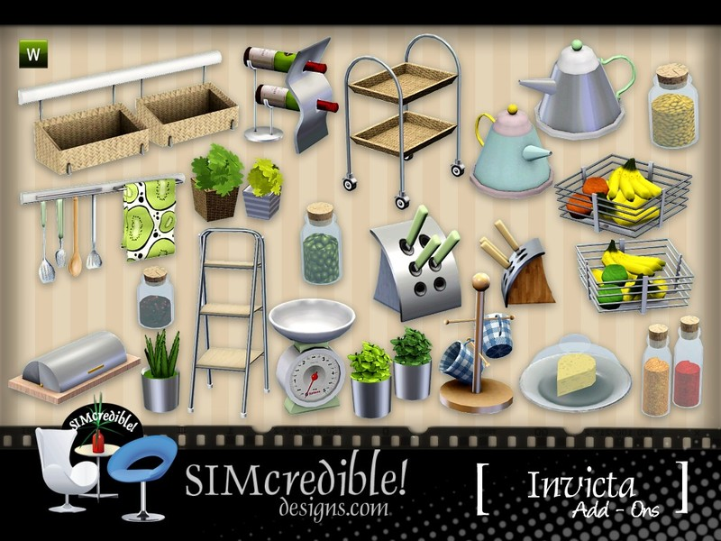 Simcredible 39 s invicta addons for Sims 3 kitchen designs