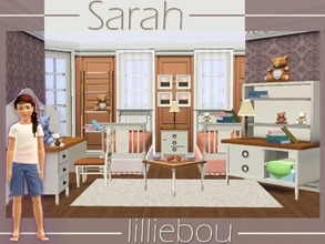 Sims 3 — Sarah Kids Bedroom by lilliebou — This kids bedroom set has 14 items : -Bed -End table -Jupon de lit -Desk