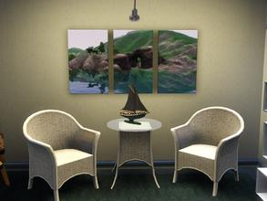 Sims 3 — Hidden Springs Tryptic Canvas by spitzmagic — Hidden Springs Tryptic Canvas Style in game screen.