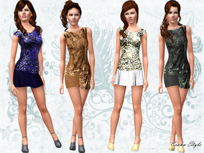 Sims 3 — Fashion In! Set by ernhn — *Fashion In Shining Dress *Fashion In Open Back Cross Strap Dress *Fashion In Ankle