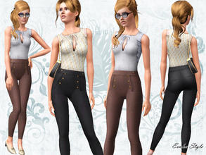 Sims 3 — High Waisted Trousers with Bow Tied Top by ernhn — High Waisted Trousers with Bow Tied Top 3 recolorable parts