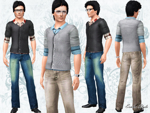 Sims 3 — Autumn Colour Male Set by ernhn — Autumn Colour Male Set *Pullover with Shirt Top *Blue Washed Vintage Jeans