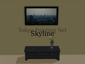 "Sims 2 — Tokyo Paintings Set - Skyline by Efui — This painting is a recolour of the basegame painting ""SimCity at"