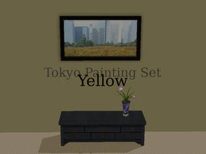 "Sims 2 — Tokyo Paintings Set - Yellow by Efui — This painting is a recolour of the basegame painting ""SimCity at"