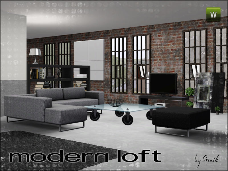 Gosik 39 s modern loft living for 3 star living room chair sims