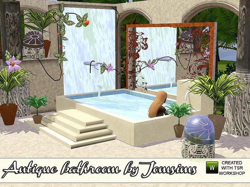 Jomsims 39 antique bathroom revision for Bathroom decor sims 3