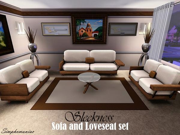 Simphomaniac 39 s sleekness sofa and loveseat set for Sims interior designs 1