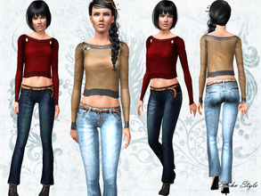 Sims 3 — Changing Seasons Set by ernhn — Changing Seasons Set *Crop Long Sleeve Top *Vintage Washed Jeans Custom meshes