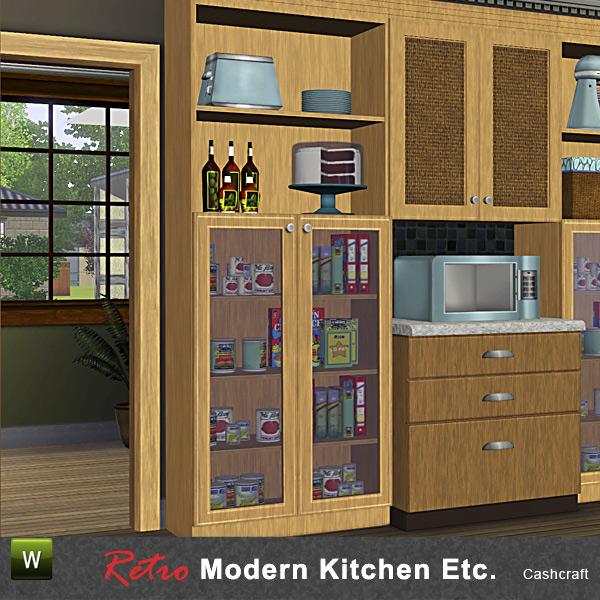 The Sims Resource Elegant Bathroom: Cashcraft's Retro Modern Kitchen 1-Tile Pantry