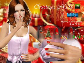 Sims 3 — Christmas Nails by MINISZ — recolorable; 3 patterns Hope you like. MERRY CHRISTMAS:)