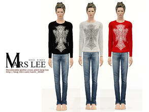 Sims 3 — Recolorable gothic cross print long tee by Mars Lee by kerm_2046 — Recolorable gothic cross print long tee by