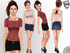 Sims 3 — Lace Open Back Top with Mini Jean Skirt Casual Outfit by ernhn — Lace Open Back Top with Mini Jean Skirt Casual