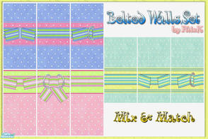 Sims 2 — Belted Walls Set by filizk — Set of 9 walls with three different color combinations. You can mix and match them.